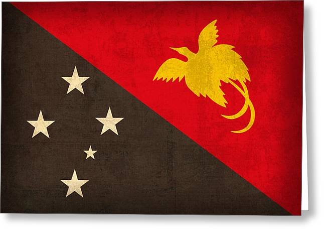 National Mixed Media Greeting Cards - Papua New Guinea Flag Vintage Distressed Finish Greeting Card by Design Turnpike