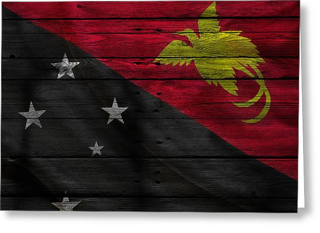 Flag Pole Greeting Cards - Papua New Guinea Greeting Card by Joe Hamilton