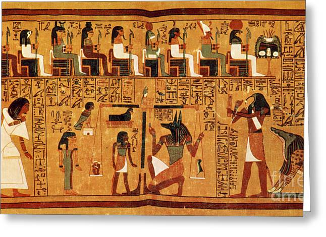 Religion Drawings Greeting Cards - Papyrus Of Ani, Weighing Of The Heart Greeting Card by Science Source