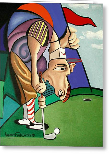 Par For The Course Greeting Card by Anthony Falbo