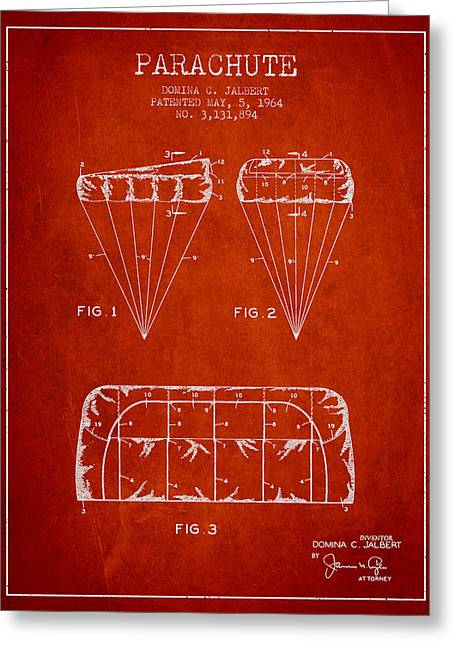 Technical Greeting Cards - Parachute Design patent from 1964 - Red Greeting Card by Aged Pixel