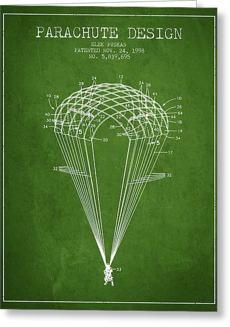 Parachuting Greeting Cards - Parachute Design patent from 1998 - Green Greeting Card by Aged Pixel