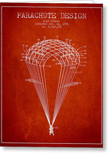 Parachuting Greeting Cards - Parachute Design patent from 1998 - Red Greeting Card by Aged Pixel