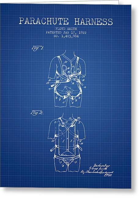 Parachuting Greeting Cards - Parachute Harness patent from 1922 - Blueprint Greeting Card by Aged Pixel