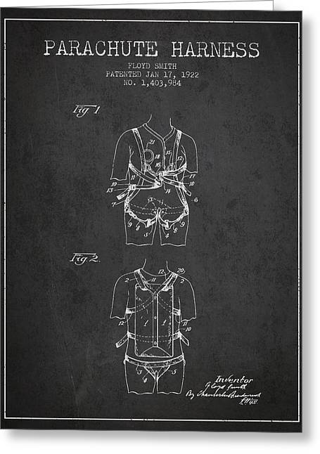 Parachuting Greeting Cards - Parachute Harness patent from 1922 - Charcoal Greeting Card by Aged Pixel