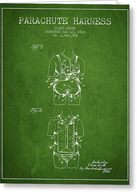 Parachuting Greeting Cards - Parachute Harness patent from 1922 - Green Greeting Card by Aged Pixel