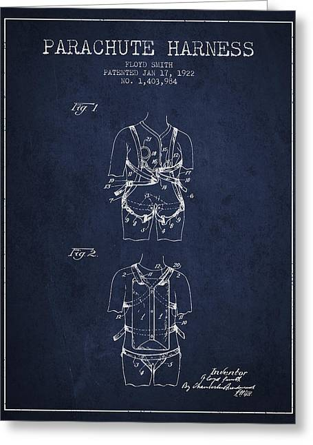 Parachuting Greeting Cards - Parachute Harness patent from 1922 - Navy Blue Greeting Card by Aged Pixel