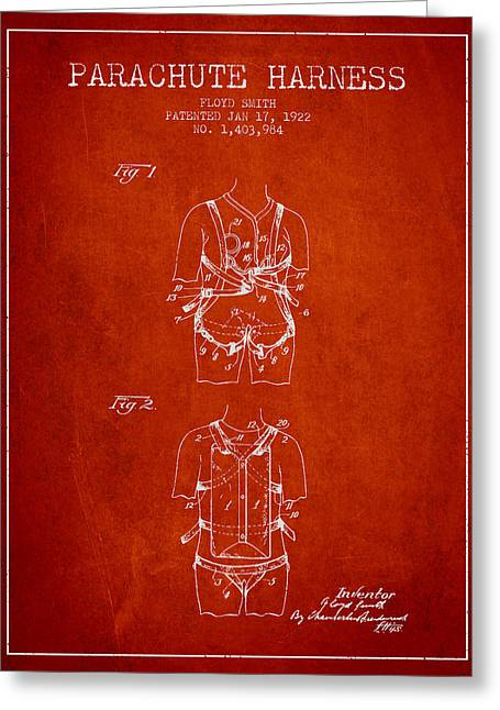 Parachuting Greeting Cards - Parachute Harness patent from 1922 - Red Greeting Card by Aged Pixel