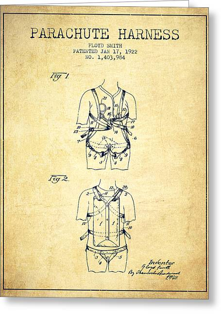 Bedroom Art Greeting Cards - Parachute Harness patent from 1922 - Vintage Greeting Card by Aged Pixel