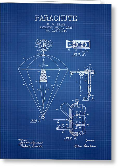 Parachuting Greeting Cards - Parachute patent from 1928 - Blueprint Greeting Card by Aged Pixel