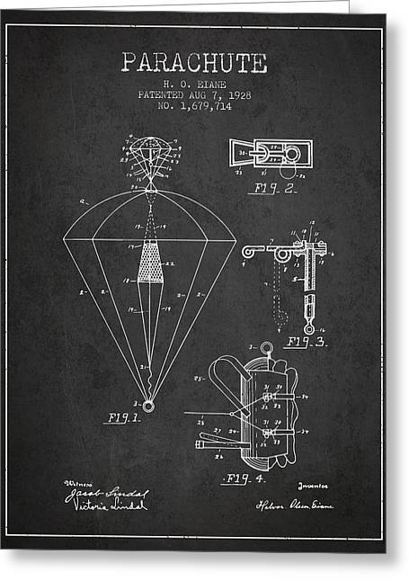 Parachuting Greeting Cards - Parachute patent from 1928 - Charcoal Greeting Card by Aged Pixel