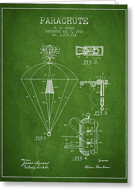 Parachuting Greeting Cards - Parachute patent from 1928 - Green Greeting Card by Aged Pixel