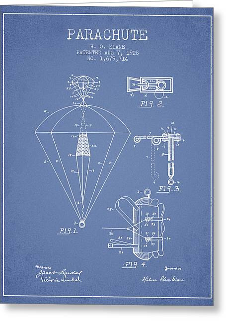 Parachuting Greeting Cards - Parachute patent from 1928 - Light Blue Greeting Card by Aged Pixel