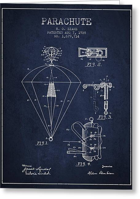Parachuting Greeting Cards - Parachute patent from 1928 - Navy Blue Greeting Card by Aged Pixel