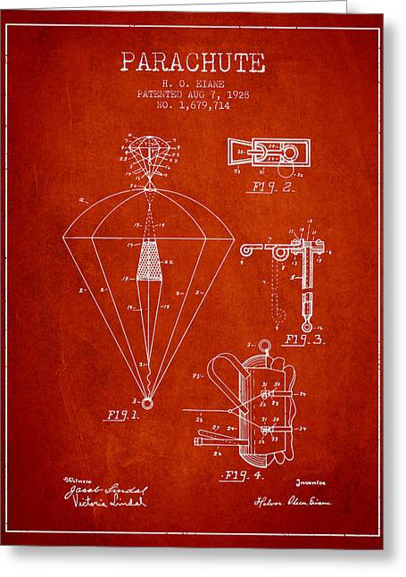 Parachuting Greeting Cards - Parachute patent from 1928 - Red Greeting Card by Aged Pixel