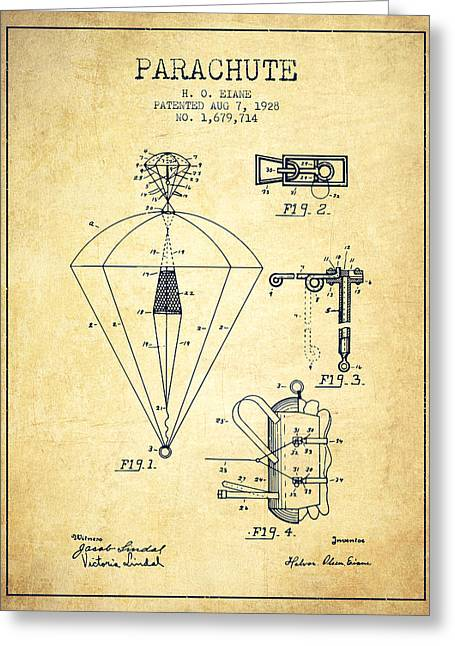 Parachuting Greeting Cards - Parachute patent from 1928 - Vintage Greeting Card by Aged Pixel