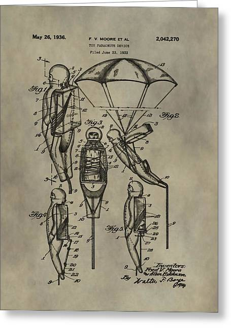 Toy Shop Greeting Cards - Parachute Toy Patent Greeting Card by Dan Sproul