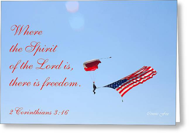 American_flag Greeting Cards - Parachuting With Old Glory Greeting Card by Connie Fox