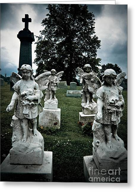 Afterlife Greeting Cards - Parade of Angels Statues at Cemetery Greeting Card by Amy Cicconi