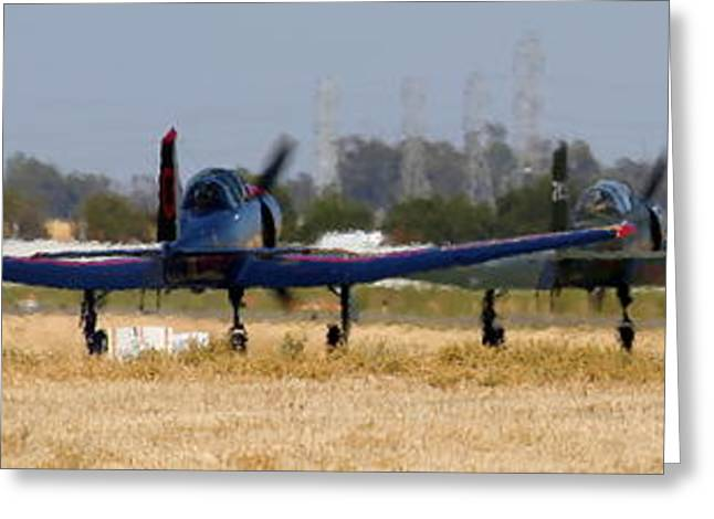 Cj-6 Greeting Cards - Parade of CJ-6s Taxi for Take-Off in the California Heat Greeting Card by John King