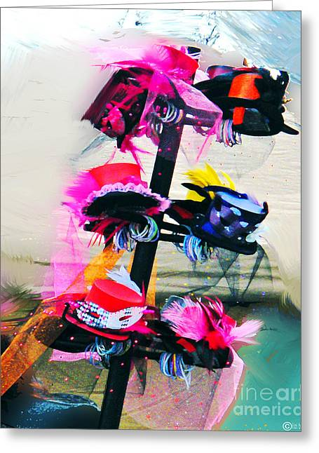 Mardis Greeting Cards - Parade of Hats Spanish Town Mardis Gras Greeting Card by Lizi Beard-Ward