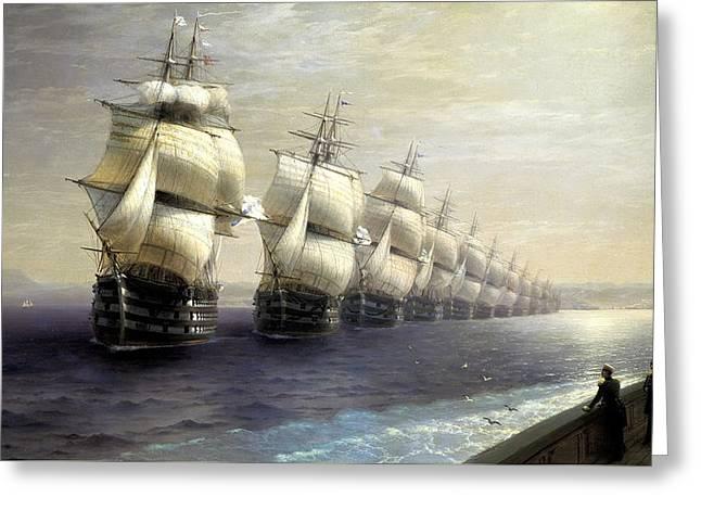 Parade Of The Black Sea Fleet In 1849 Greeting Card by Ivan Konstantinovich Aivazovsky