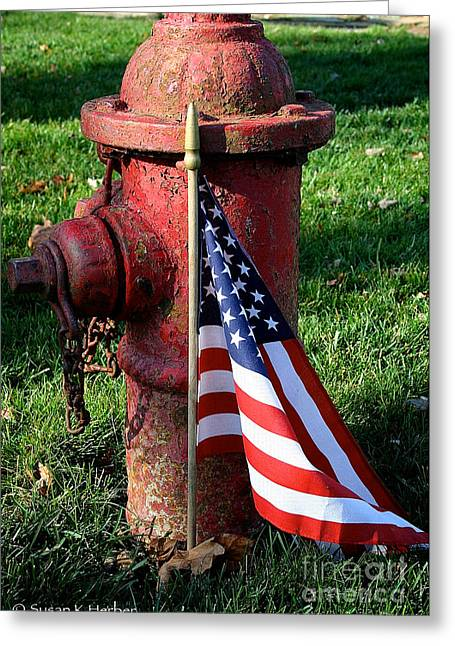 Flag Fire Hydrant Greeting Cards - Parade Souvenir Greeting Card by Susan Herber