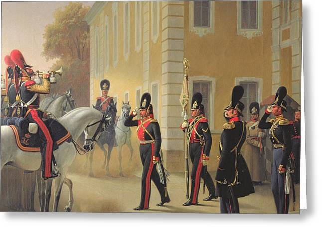 March Greeting Cards - Parading Of The Standard Of The Great Palace Guards, 1853 Oil On Canvas Greeting Card by Adolph Gebens