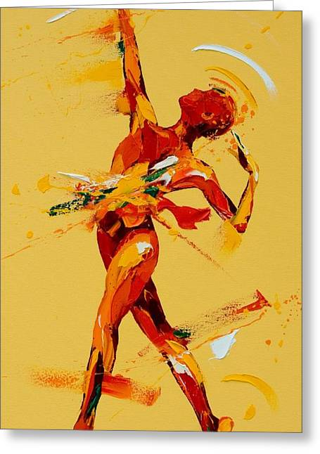 Ballet Dancers Paintings Greeting Cards - Paradis Greeting Card by Penny Warden