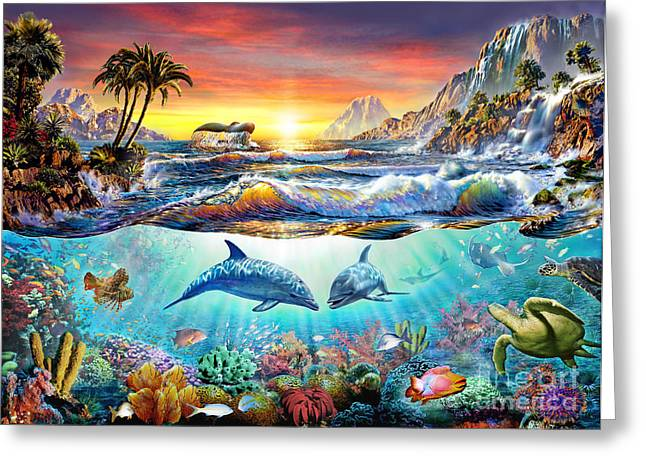 Reef Fish Digital Art Greeting Cards - Paradise Bay Greeting Card by Adrian Chesterman