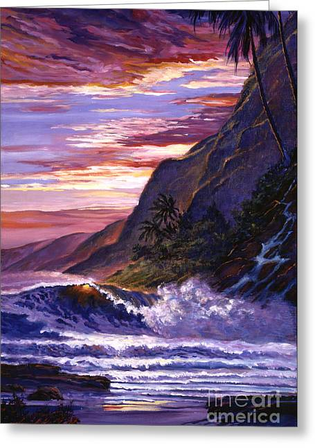 Sunset Seascape Greeting Cards - Paradise Beach Greeting Card by David Lloyd Glover