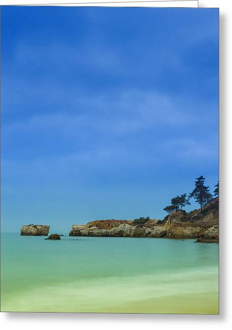 Blue Green Wave Greeting Cards - Paradise Beach Greeting Card by Marco Oliveira