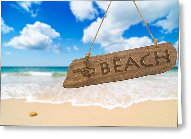 Signpost Greeting Cards - Paradise Beach Sign Algarve Portugal Greeting Card by Amanda And Christopher Elwell