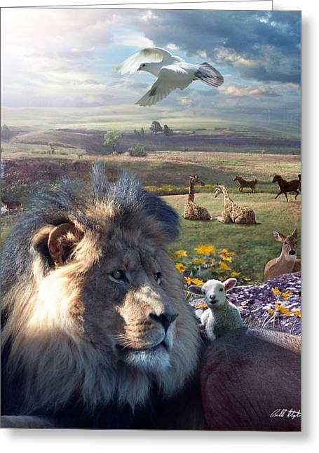 Lion Lamb Greeting Cards - Paradise Greeting Card by Bill Stephens