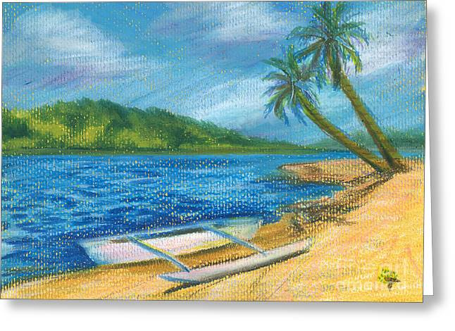 Canoe Drawings Greeting Cards - Paradise Canoe Greeting Card by Tina McCurdy