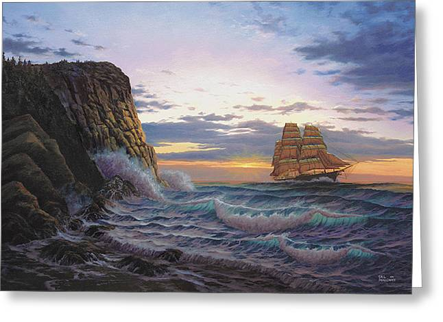Ocean Prints Greeting Cards - Paradise Cove and the Lightning  Greeting Card by Del Malonee