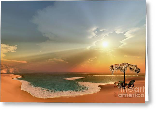 Thatch Digital Greeting Cards - Paradise Cove Greeting Card by Corey Ford