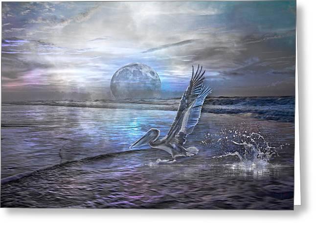 Sea Moon Full Moon Greeting Cards - Paradise Cruise III Greeting Card by Betsy C  Knapp