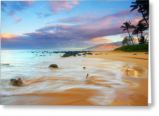 Tropical Beach Greeting Cards - PAradise Dawn Greeting Card by Mike  Dawson