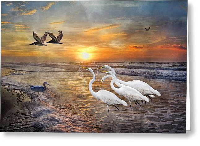 Sea Moon Full Moon Greeting Cards - Paradise Dreamland  Greeting Card by Betsy C  Knapp