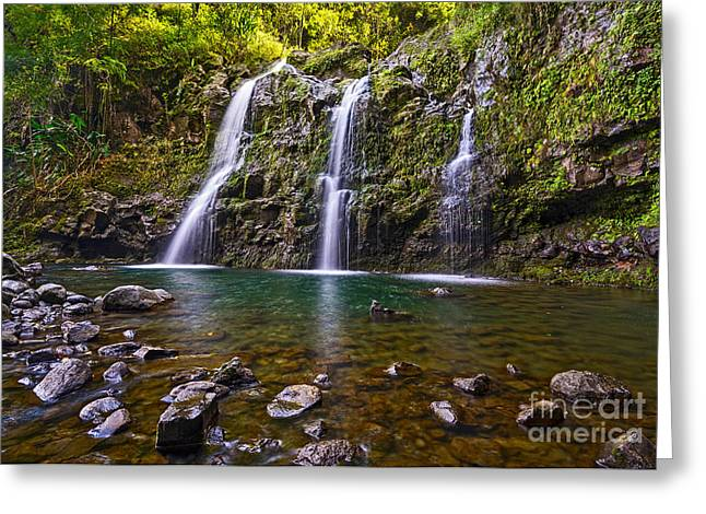 Three Bears Greeting Cards - Paradise Falls - the stunningly beautiful Upper Waikani Falls or Three Bears in Maui. Greeting Card by Jamie Pham