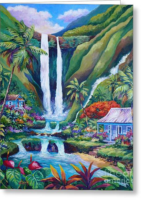 Jurassic Park Greeting Cards - Paradise Falls Greeting Card by John Clark