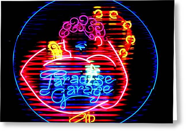 Neon Glass Art Greeting Cards - Paradise Garage Greeting Card by Pacifico Palumbo