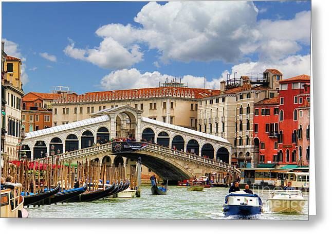 Boats In Water Greeting Cards - Paradise in Venice Greeting Card by Mariola Bitner