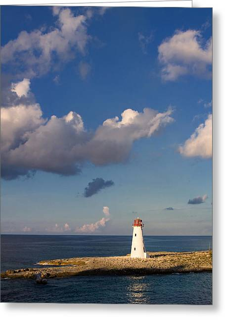 Red Hog Greeting Cards - Paradise Island Lighthouse Greeting Card by Stephanie McDowell