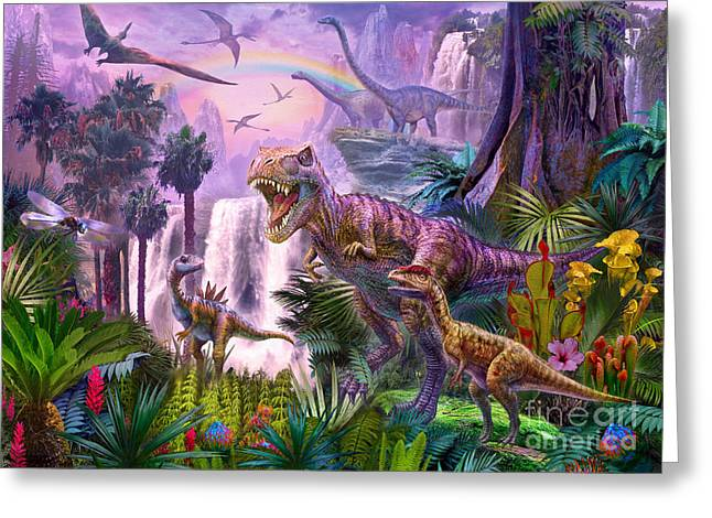 T-rex Greeting Cards - Paradise Greeting Card by Jan Patrik Krasny