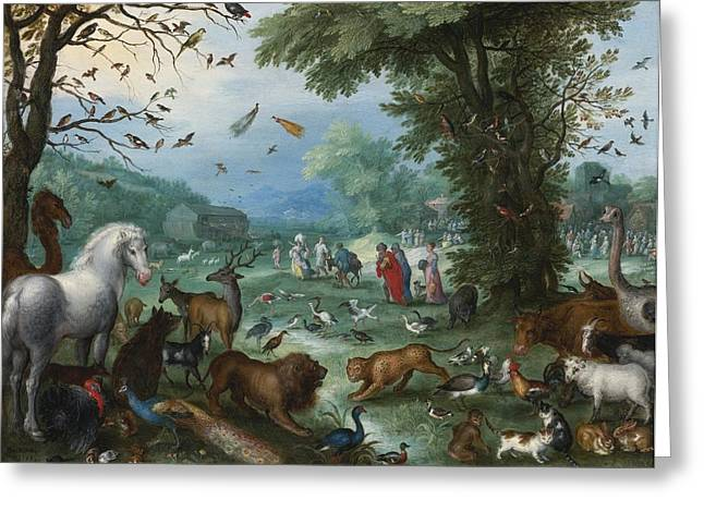 Noahs Ark Paintings Greeting Cards - Paradise Landscape Greeting Card by Jan Brueghel The Elder