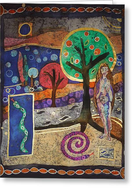 Paradise Tapestries - Textiles Greeting Cards - Paradise Lost Greeting Card by Sandra Kern