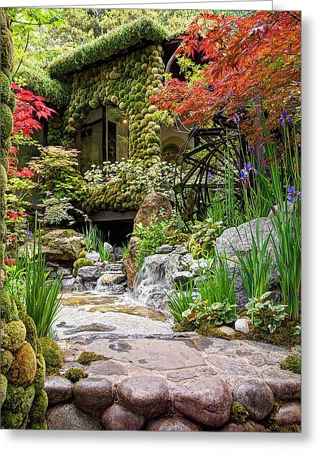 Red And Tea Greeting Cards - Paradise On Earth - Japanese Garden 2 Greeting Card by Gill Billington