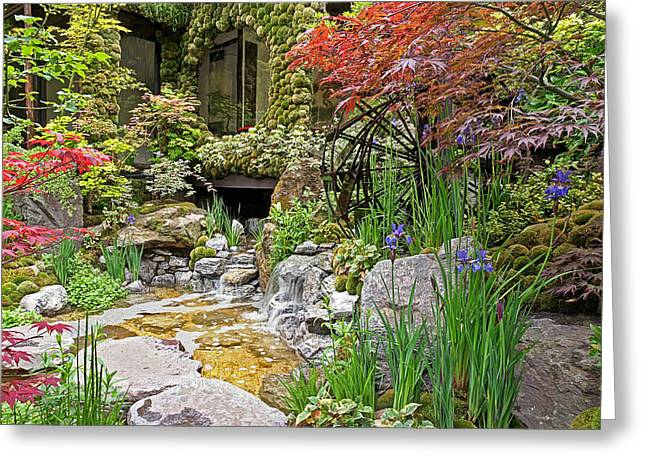 Gills Rock Greeting Cards - Paradise On Earth - Japanese Garden Greeting Card by Gill Billington